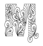 Zentangle stylized alphabet. Letter M in doodle style. Hand drawn sketch font, vector illustration for coloring page, makhendas or decoration Royalty Free Stock Photo
