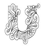 Zentangle stylized alphabet. Letter U in doodle style. Hand drawn sketch font. Vector illustration for coloring page, makhendas or decoration Stock Photos