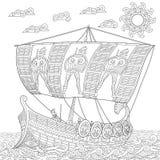 Zentangle stylized ancient greek galley Stock Photos