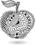 Zentangle stylized apple, vector illustration, artistically draw Stock Images