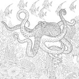 Zentangle stylized aquarium. Stylized composition of giant octopus, tropical fish, underwater seaweed and corals. Freehand sketch for adult anti stress coloring Stock Photo