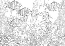 Zentangle stylized aquarium. Stylized composition of tropical fish, seahorse, underwater seaweed, corals and starfish. Freehand sketch for adult anti stress Royalty Free Stock Image
