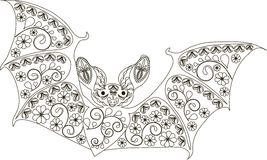 Zentangle stylized bat black and white hand drawn vector royalty free illustration