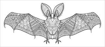 Zentangle stylized bat. Hand Drawn halloween vector illustration. Sketch for tattoo or coloring book. Animal collection Royalty Free Stock Photo