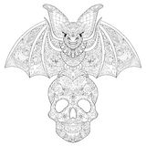 Zentangle stylized Bat seating on sugar Skull for Halloween. Fre Royalty Free Stock Image