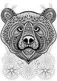 Zentangle stylized bear face on flowers. Hand drawn ethnic anima. L for adult coloring pages, art therapy, boho t-shirt patterned print, posters, t-shirt. Vector Royalty Free Stock Image