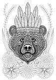 Zentangle stylized bear with war bonnet on flowers. Hand drawn e Stock Photos