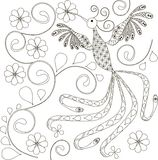Zentangle stylized bird black and white hand drawn Royalty Free Stock Photos