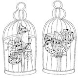 Zentangle stylized bird in cage. Hand Drawn vector Royalty Free Stock Photo