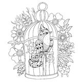 Zentangle stylized bird in cage. Hand Drawn vector Royalty Free Stock Image