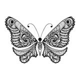 Zentangle stylized black Butterfly. Hand Drawn Stock Photos