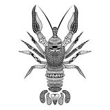 Zentangle stylized Black Crawfish. Hand Drawn Crayfish Royalty Free Stock Photography
