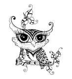 Zentangle stylized Black Owl. Royalty Free Stock Photo