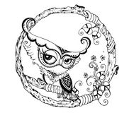 Zentangle stylized Black Owl.  doodle. Stock Photos