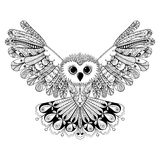 Zentangle Stylized Black Owl. Hand Drawn Vector Illustration Iso Stock Photos