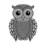 Zentangle stylized Black Owl. Hand Drawn vector illustration isolated on white background.  Royalty Free Stock Photos