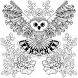 Zentangle stylized Black Owl with rose for adult anti stress col Stock Image