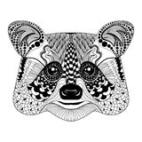 Zentangle stylized Black Raccoon face. Hand Drawn doodle vector Royalty Free Stock Photography