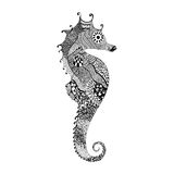 Zentangle Stylized Black Sea Horse. Hand Drawn Royalty Free Stock Photography