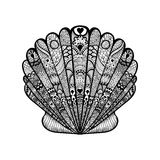 Zentangle stylized black sea shell. Hand Drawn  doodle vector il Royalty Free Stock Photo