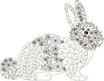 Zentangle, stylized black and white hand drawn rabbit, vector Royalty Free Stock Photo