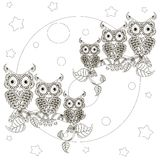 Zentangle stylized black and white owls on branches, full moon Royalty Free Stock Photo