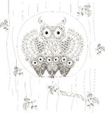 Zentangle, stylized black and white owls family sitting in the hollow of tree trunk, hand drawn, vector. Illustration Stock Image