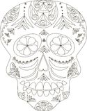 Zentangle stylized black and white sugar skull, hand drawn, vector Royalty Free Stock Photography