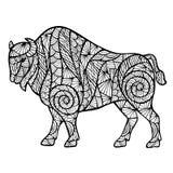 Zentangle stylized buffalo Stock Photo