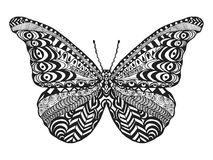 Zentangle stylized butterfly. Stock Photo