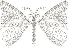 Zentangle stylized butterfly black and white hand drawn Royalty Free Stock Photos