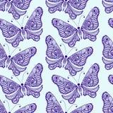 Zentangle stylized Butterfly seamless pattern. Hand Drawn  Royalty Free Stock Image
