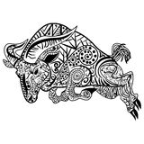 Zentangle stylized cartoon ram vector illustration. Zentangle stylized cartoon goat ram, aries, capricorn zodiac. Hand drawn sketch for adult antistress coloring Royalty Free Illustration