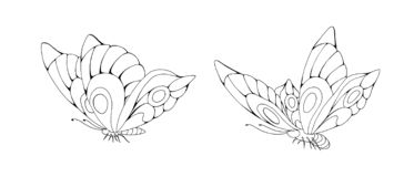 Zentangle stylized cartoon two butterflies isolated on white background vector illustration