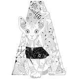 Zentangle stylized cat against the background of the letter A. Hand Drawn lace vector illustration Royalty Free Stock Photos