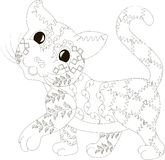 Zentangle stylized cat, black and white, hand drawn Stock Photos
