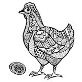 Zentangle stylized chicken with egg. Vector illustration isolated on white background Royalty Free Stock Photography