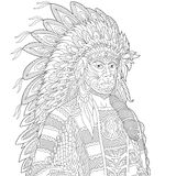 Zentangle stylized chief Stock Images