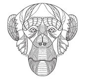 Zentangle Stylized Chimpanzee Head, Chinese Zodiac, Vector, Illustration, Freehand Pencil, Hand Drawn, Pattern. Monkey Doodle. Royalty Free Stock Photos