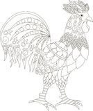 Zentangle stylized cock black and white hand drawn, vector illustration Royalty Free Stock Image