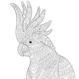 Zentangle stylized cockatoo. Stylized cockatoo & kakadu parrot, on white background. Freehand sketch for adult anti stress coloring book page with doodle and stock illustration
