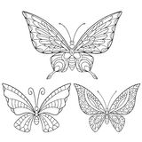 Zentangle stylized collection of three butterflies Royalty Free Stock Image