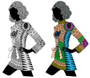 Zentangle stylized color and black girl. Hand Drawn illustration. Coloring books or tattoos with high details on white background Vector Illustration