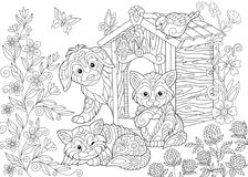 Zentangle stylized dog and cats Stock Image