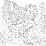 Zentangle stylized dolphin. Stylized cute dolphin swimming among underwater seaweed. Freehand sketch for adult anti stress coloring book page with doodle and Stock Photos