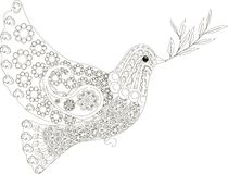 Zentangle stylized dove of peace black and white hand drawn, vector stock illustration