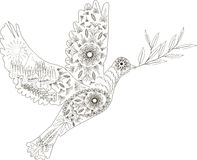 Zentangle stylized dove of peace  black and white hand drawn, vector Stock Images