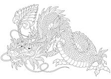 Zentangle stylized dragon. Stylized dragon - symbol of chinese new year, isolated on white background Stock Photo