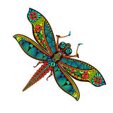 Zentangle stylized Dragonfly with abstract colorful background. stock illustration