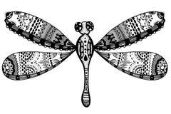Zentangle stylized dragonfly stock illustration